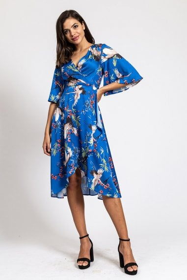 Wrap Dress in Blue Bird Print With Kimono Sleeves