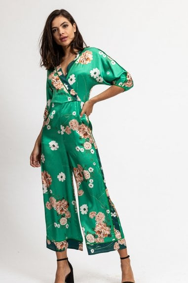 Two Tones Green Floral Jumpsuit with wide Leg and Wrap Front