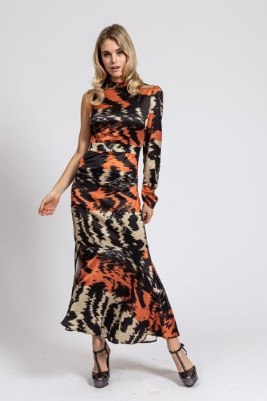 One Sleeve Maxi Dress in Abstract Stripes Print