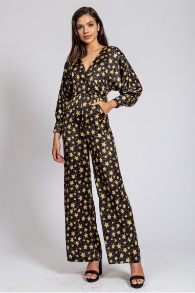 Star Print Maxi Jumpsuit with Batwin sleeves and Wide Leg
