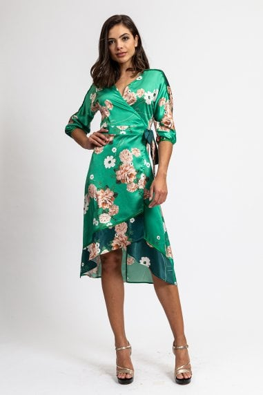 Two Tones Green Floral Wrap Dress