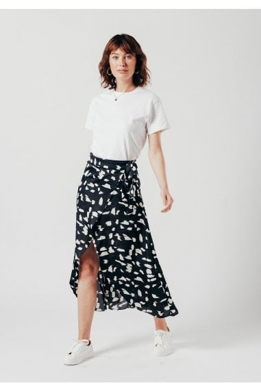 Dalmatian Wrap Skirt in Black & White Print