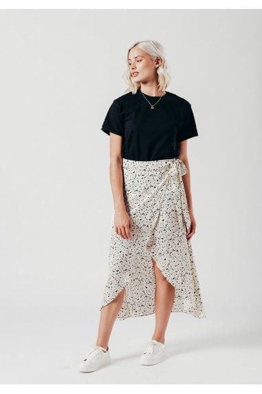 White Dalmatian print wrap skirt