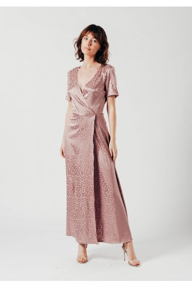 Satin Maxi Wrap Dress in Pink Leopard Jacquard