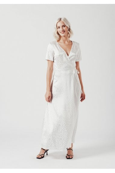 Satin Maxi Wrap Dress in White Leopard Jacquard