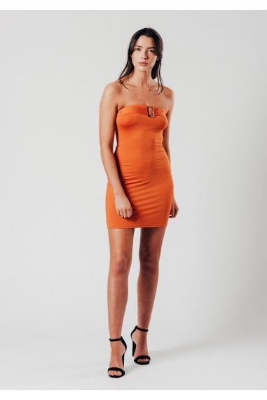 Orange Buckle Detail Mini Bodycon Dress