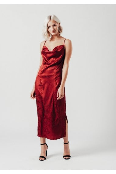 Satin Wine Crowl Neck Midi Dress