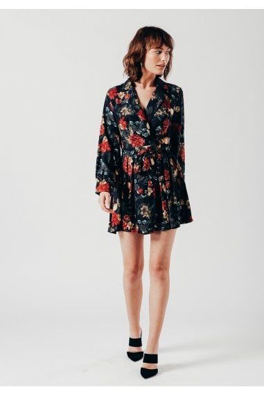 Mini Wrap Dress in Navy Floral Print