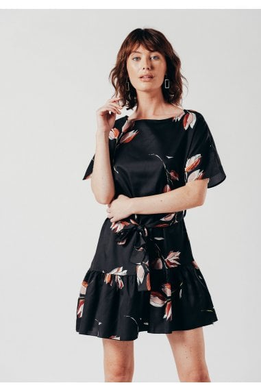 Black Floral Mini Dress With Wait Belt