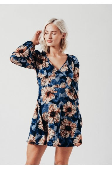 Blossom Sleeve Mini Dress in Navy Floral Print