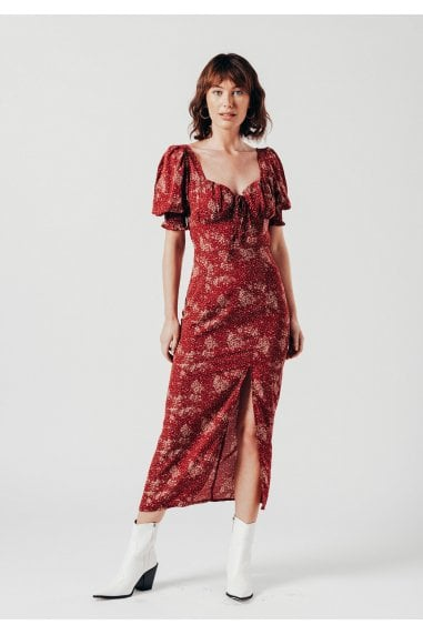 Cup Detail Midi Dress in Red Ditsy Print
