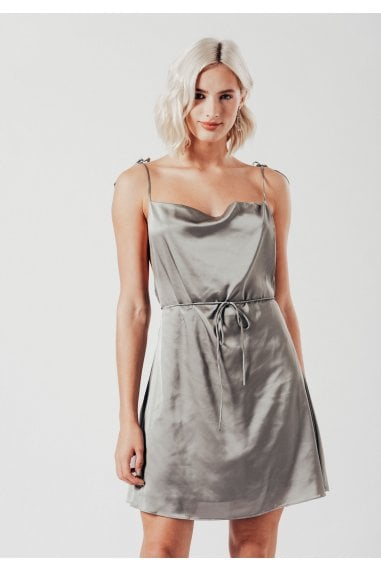 Strappy Satin Mini Dress in Grey