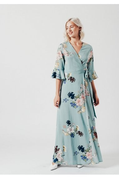 Green Floral Wrap over Maxi Dress