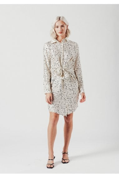 Satin Mini Shirt Dress in Dalmatian Print