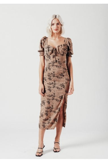 Cup Detail Midi Dress in Nude Ditsy print