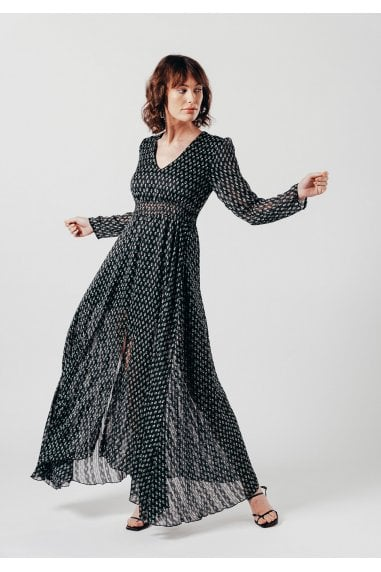 Long sleeve maxi dress with V Neck in black ditsy print