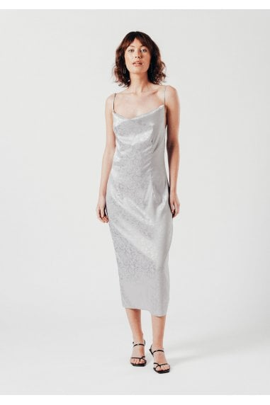 Satin grey crowl neck midi dress