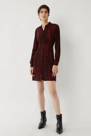RED FEATHER SHIRT DRESS