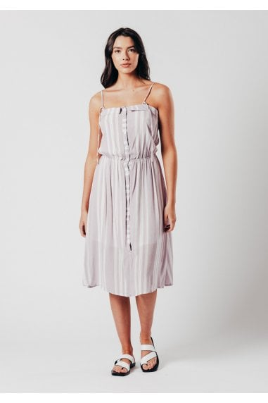 Purple stripe strappy midi dress
