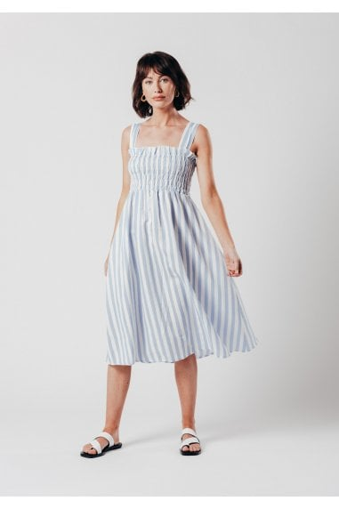 Shirred Midi Dress in Blue and White Stripe