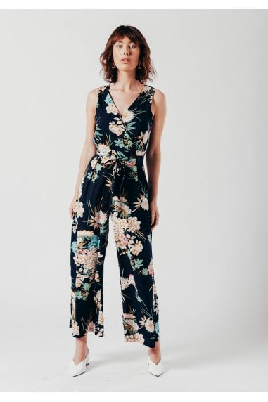 Navy Floral Print Wrap Over Style Jumpsuit