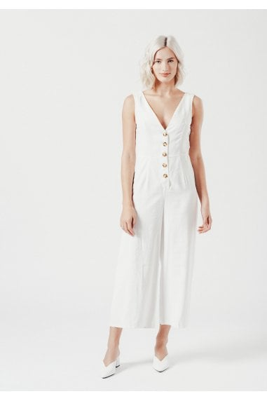 White Versatile Jumpsuit With Chunky Buttons