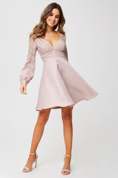 Sammie Mink Foiled Lace Skater Dress