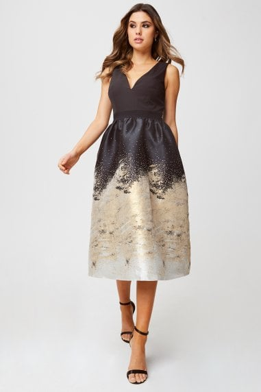 Lisa Black And Gold Jacquard Fit And Flare Midi Dress