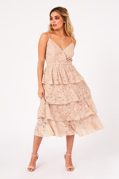 Mesmerize Champagne Tiered-Lace Midi Dress