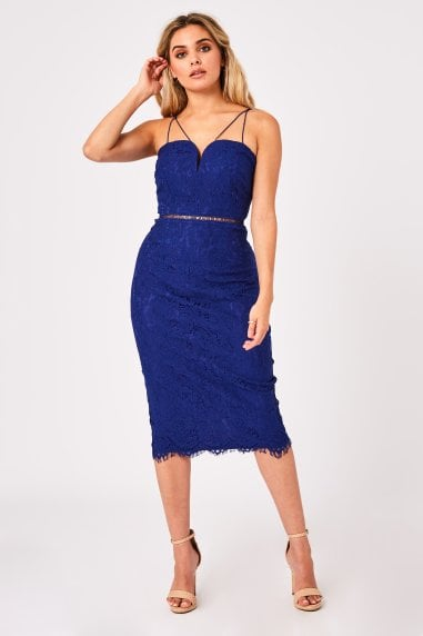 Midas Touch Cobalt Lace Sweetheart Dress