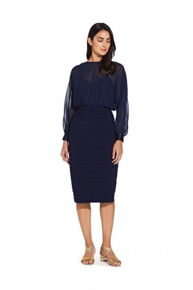 Matte Jersey Chiffon Blouson Dress