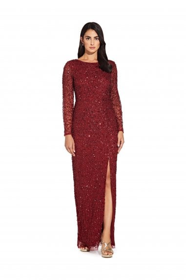 Beaded Covered Column Gown