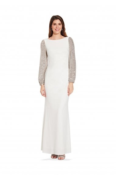 Crepe And Sequin Gown