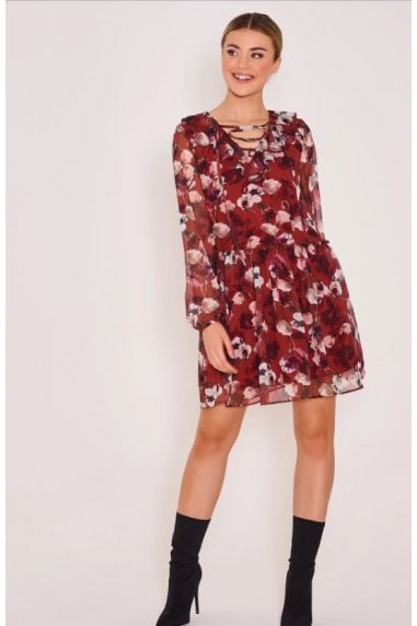Gia Lace up Floral Dress