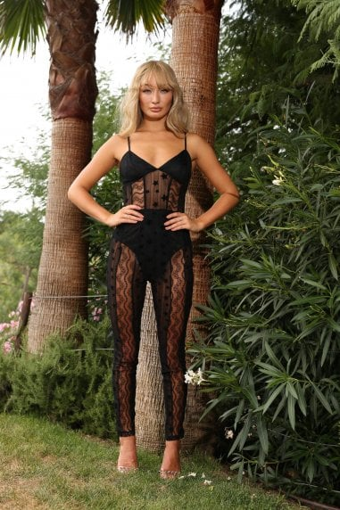 Ariel mixed lace catsuit