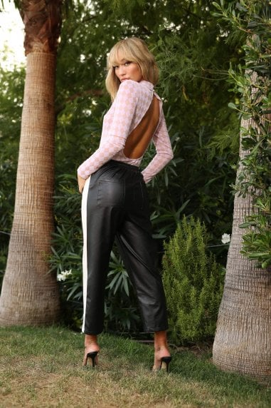 Hailey side stripe leather trouser