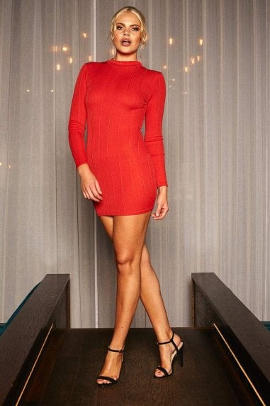 Alicia high neck long sleeve bandage mini dress