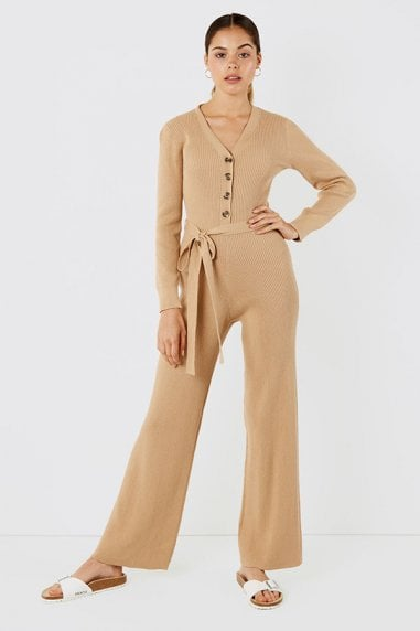 Luxe belted button jumpsuit