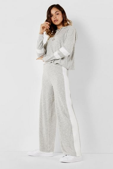 Jersey wide leg grey trouser in rib