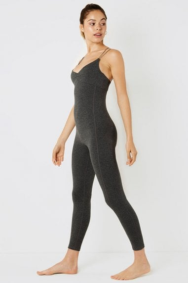 Unitard with cross back straps charcoal