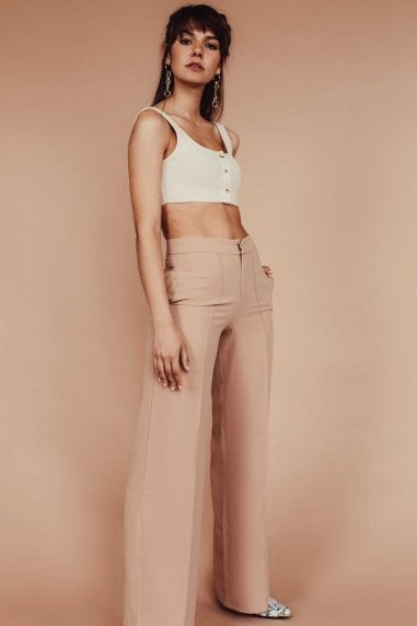 Nude High Waisted Wide Leg Trouser with Middle Seam