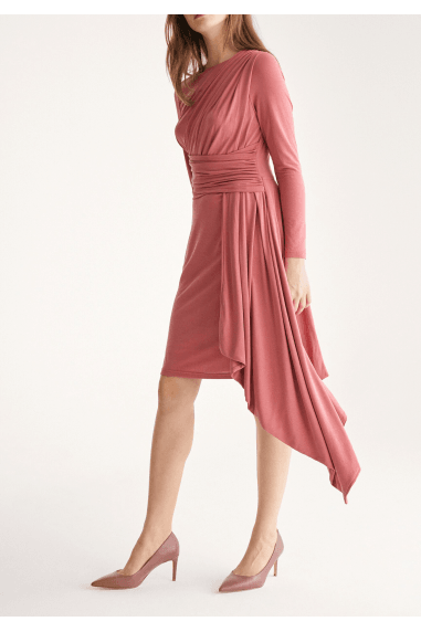Jersey Dress with Ruched Detail and Side Skirt Drape in Coral