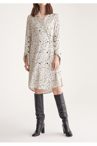 Double Breasted Dress with Sleeve Detail in Ink Print in Ivory and Black