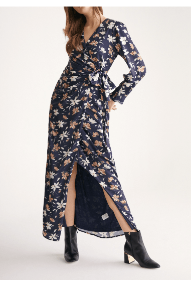 Winter Floral Maxi Wrap Dress in Winter Navy Floral Print