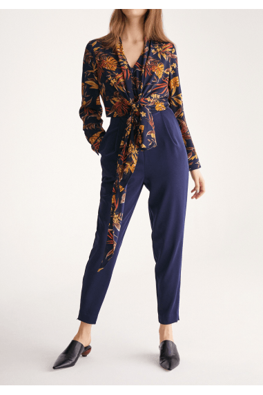Midnight Floral Top Jumpsuit with Wrap Tie Waist in Navy Midnight Floral Print