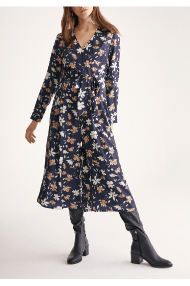 Petal Print Wrap Front Culotte Jumpsuit with Self Belt in Navy Petal Print