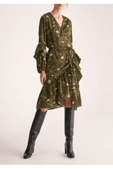 Botanical Print Wrap Dress with Frilled Sleeves in Botanical Green Floral Print
