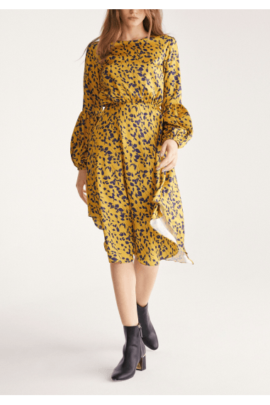 Leaf Print Dress with Balloon Cuffs in Yellow and Navy Leaf Print