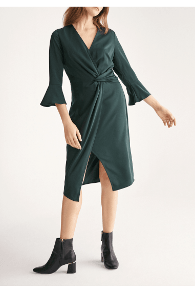 Satin Dress with Twisted Waist and Flared Cuffs in Dark Green