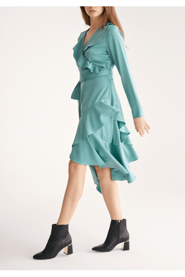 Satin Wrap Dress with Frills and Self Belt in Teal